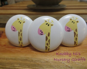Giraffe Hand Painted Drawer Knobs | Dresser Pulls | Nail Covers - Nursery Giraffe - Cute Giraffe