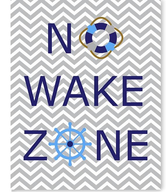 No wake zone nursery print nautical nursery art baby decor for Home decor zone