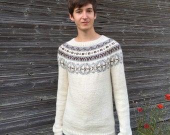 Fair Isle sweater Men's sweater Icelandic sweater Alpaca sweater White sweater Ivory white sweater