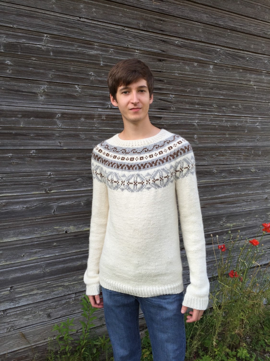 Fair Isle sweater Men's sweater Icelandic sweater Alpaca