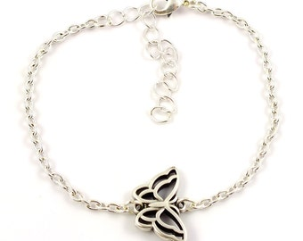 Silver plated butterfly bracelet - silver mix and match armcandy - silver