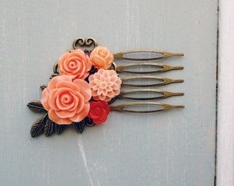 Coral and Peach resin flower and pearl hair comb No. H71