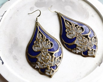 Earrings, Large Navy Blue patina filigree dangle earrings