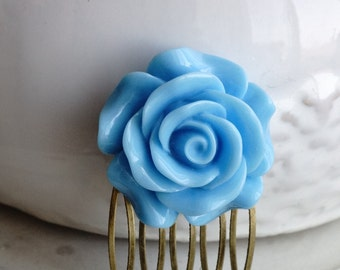 50% off SALE Hair Comb, Large Blue Rose Flower hair comb. 2