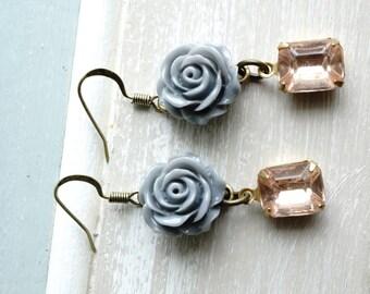 Earrings, Grey resin flower and Blush pink crystal earrings