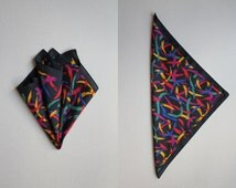 MISSONI small scarf pocket square 80s fun chic brush strokes pattern multicolor black modern art bag charm collectible - 15 x 15 inches