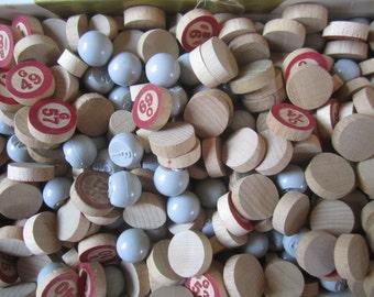 Bingo Chip Call Number Wood Plastic Vintage - 165