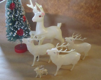 Plastic Celluloid Deer Molded Vintage White