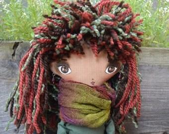 "Handmade rag doll - Fabric doll - Soft doll - Cloth doll - Painted face - OOAK  doll - Big doll 36 cm, (14"" ) tall -  Interior doll."