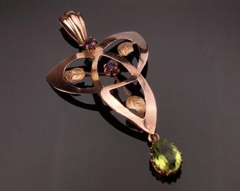 Rose Gold Lavalier, Art Nouveau, Faux Peridot Pendant