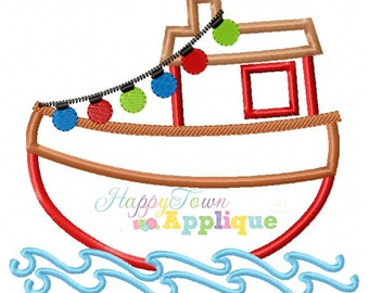 Christmas Tugboat Machine Embroidery Applique Design