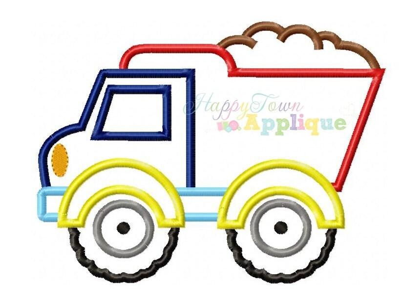 Dump truck machine embroidery design