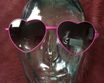 Hot pink heart sunglasses