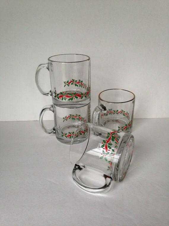 Christmas drinking glasses vintage hot chocolate mugs set of
