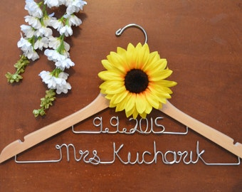 Personalized Double Line Hanger with flower, Bride Dress Hanger, Bridal Shower Gift, Wedding Dress Hanger, Custom Wedding Dress Hanger, Gift