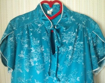 Vintage Blue Floral Jersey Asian Style top