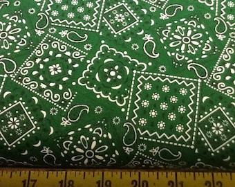 Green Blazin Bandana Fabric by the yard