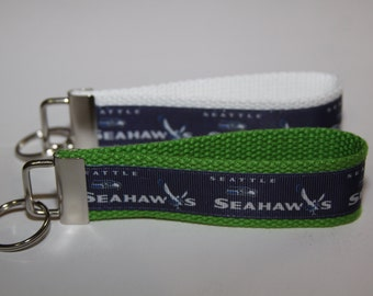 Key chain wristlet key fob with the Seattle Seahawks Ribbon