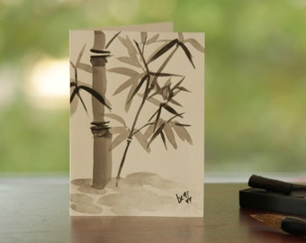 Bamboo sumi e painting greeting card
