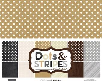 Echo Park Paper DOTS & STRIPES Neutrals 12x12 Scrapbook Paper Collection Kit (DS15023)