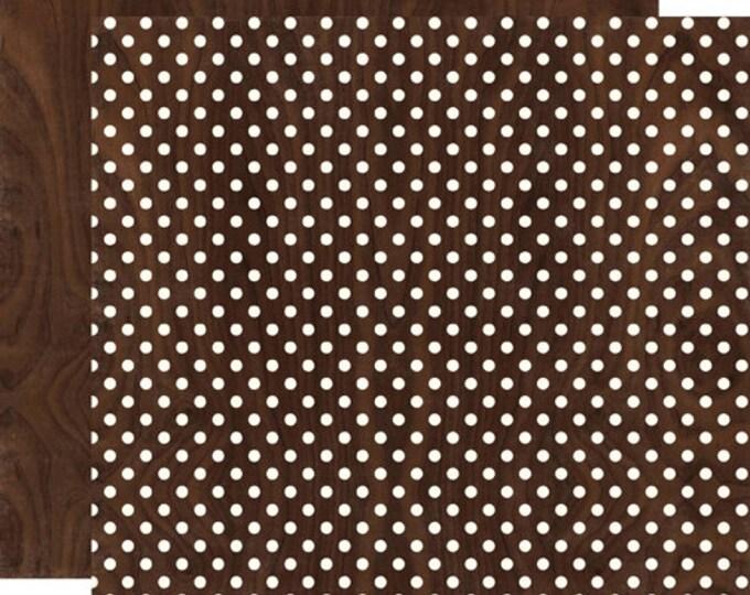2 Sheets of Echo Park Paper DOTS & STRIPES Neutrals 12x12 Scrapbook Paper - Woodgrain (DS15018)
