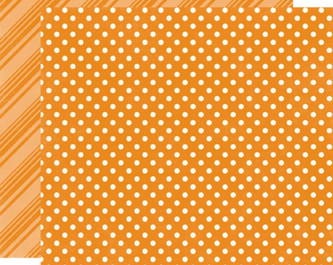 2 Sheets of Echo Park Paper DOTS & STRIPES Summer 12x12 Scrapbook Paper - Orange (DS15013)