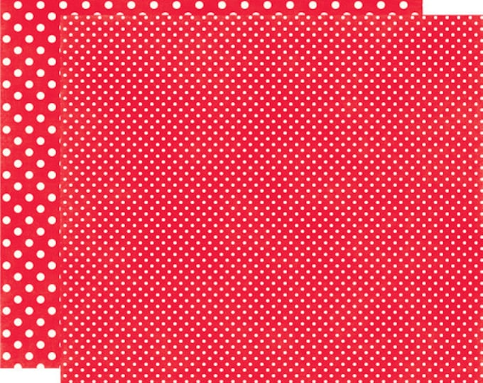 2 Sheets of Echo Park Paper DOTS & STRIPES Christmas 12x12 Scrapbook Paper - Berry Red (2 Sizes of Dots/No Stripes) DS15044