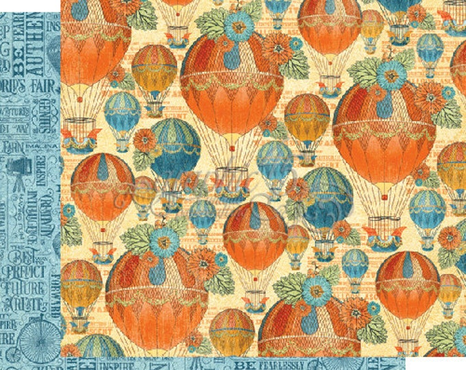 2 Sheets of WORLD'S FAIR Scrapbook Paper by Graphic 45 - Balloon Bouquet