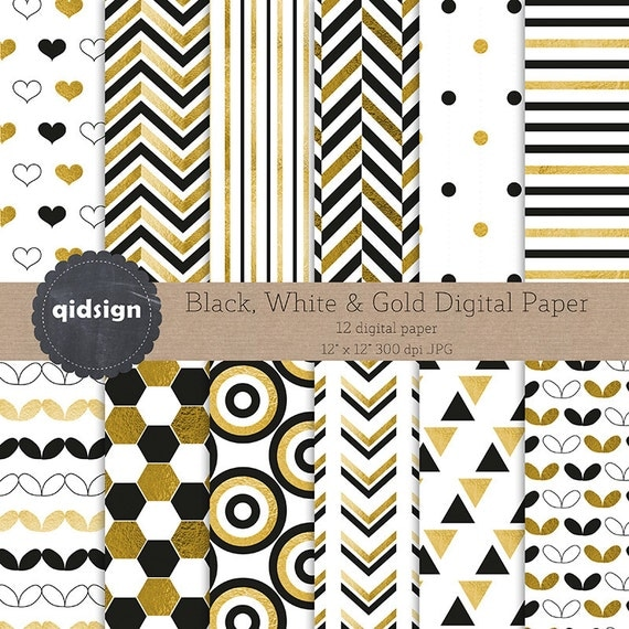 Black White And Gold Digital Paper Scrapbook Photography