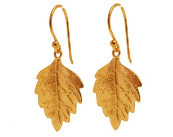 22 Carat Gold Vermeil Leaf Earrrings