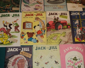 11 Vintage Issues Jack and Jill Magazine 1952 - 1953, Old Children's Magazine