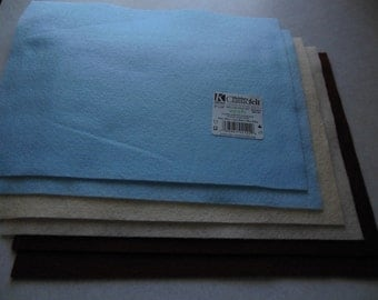 KUNIN Rainbow Classic Felt Six  9x12  Sheets Assorted 2@ Baby Blue, Antique White, Ruby