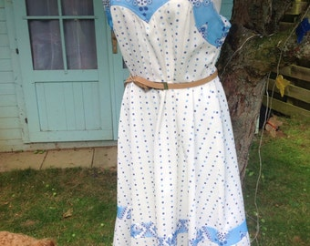 Vintage blue circles poly dress