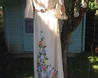 Vintage 70's summer garden maxi dress