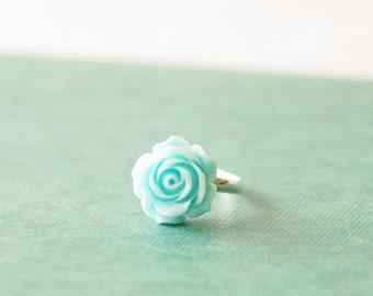 Something Blue Flower Ring * Blue Rose Ring * Silver Flower Ring Bridesmaid Gift * Something Blue Jewelry