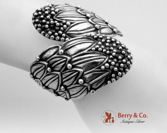Large Vintage Mexican Hinged Clamper Cuff Bracelet Sterling Silver HL 1960