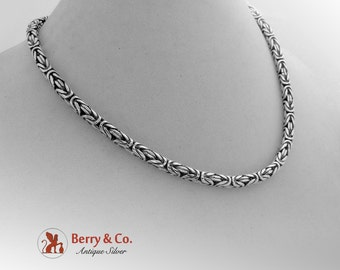 Ornate Heavy Chain Necklace Sterling Silver