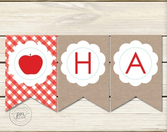 Apple Theme Happy Birthday Banner // Apple Theme // Apple Birthday Party // Fall // DIY Printables