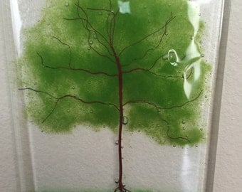Hand made Summer Oak Tree, a great gift for a friend, made from fused glass, glass frit, copper wire use as sun catcher or wall decoration.