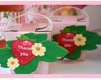 Strawberry shortcake thank you tags. Strawberry shortcake birthday. Strawberry shortcake baby shower. Strawberry shortcake theme