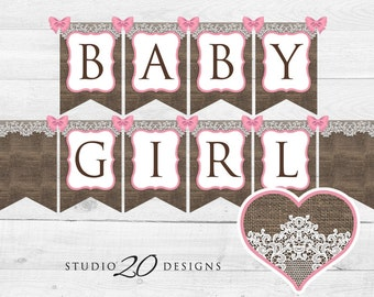 Instant Download Burlap Baby Shower Banner, Burlap and Lace Bunting Banner, Printable Pink Burlap Shower Pendent Banner for Girl 73A
