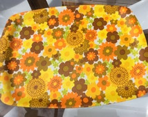 Vintage serving tray mid century 1960s picnic camping groovy design psychedelic psychedelia flower power orange kitchen
