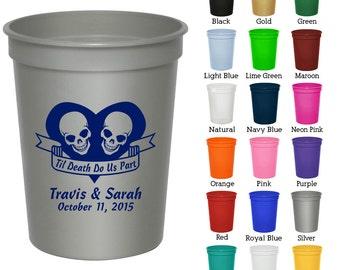 16 oz Personalized Stadium Cups (Clipart 1752) Til Death Do Us Part - Wedding Cups - Wedding Favors - Custom Plastic Cups - Monogram Cups