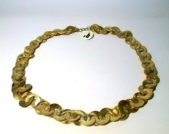 Handmade chain.Silver gilt chain.Hoop element chain.Italian Jewelry. Made in Italy.