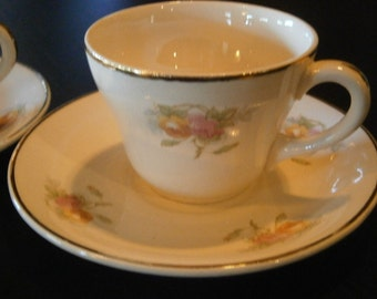 Three Sets, After Dinner Cups and Saucers, Pink and Yellow Roses