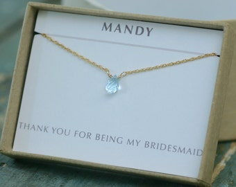 Blue topaz necklace for bridesmaid, tiny blue bridesmaid necklace, December birthstone jewelry, gift for bride from bridesmaid - Natalie