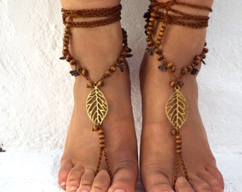 Wood beads, Barefoot Sandals Barefoot Beach  seaside  Jewelry barefoot sandal, Hippie Sandals Foot Jewelry Toe Thong
