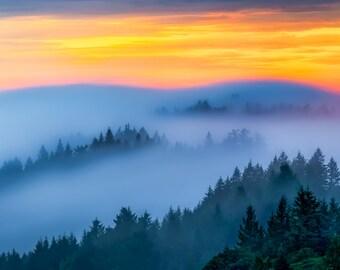 Mountain Sunset Fog Photograph - A Photo Print of a Mountain Landscape Foggy - Outdoors Nature Wilderness Sunset Photo - Yellow, Blue, Green