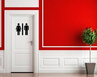 Bathroom Door Sign - Restroom Decal - Bathroom Sticker, Men's Room Sticker, Women's Room Sticker