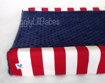 Red stripe, navy minky dot changing pad cover